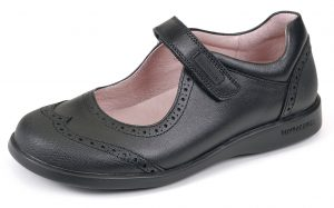 Biomecanics Black School Shoe by Garvalin. Girls timeless Mary Jane style shoe. High quality leather upper with a toe and heel guard . Fully lined with lovely soft leather.