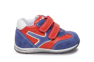 red and blue leather shoe