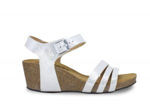 ladies white high cork sandal